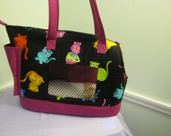 Black and Magenta Cat Carrier