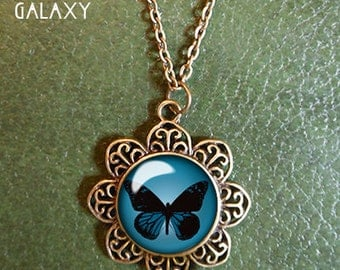 Blue and Black Monarch Butterfly Pendant, Glass Dome, Butterfly Necklace