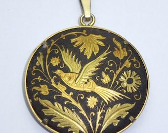 Vintage Damascene pendant - Black & Gold circular