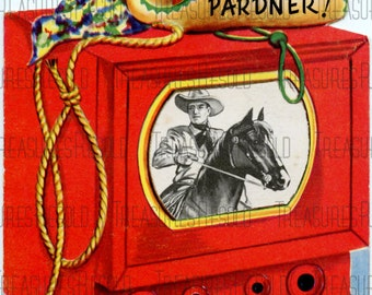 Childs Cowboy TV Television Birthday Card #250 Digital Download