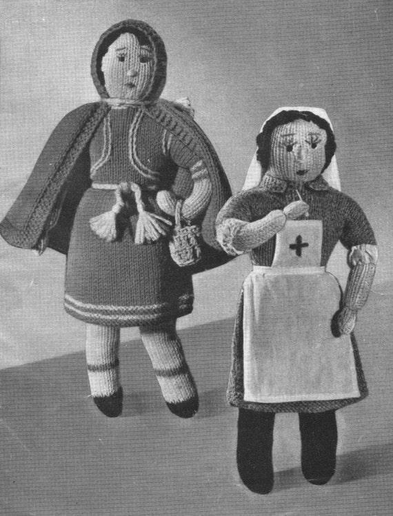 Knitting Pattern For Nurse Doll : Vintage WWII Red Cross Nurse Doll and Red by VintageKnitandStitch