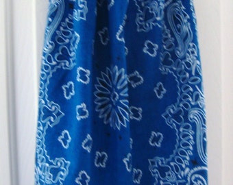BD 023 Girls Royal Blue Bandanna dress with red white and blue striped ruffle and tie