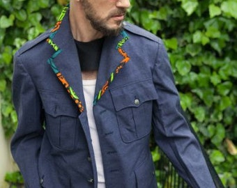 Vintage Men's Flying Jacket, with African Print Lining