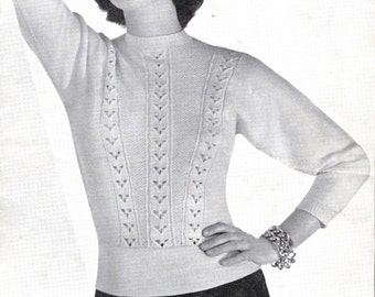 Original 1950's Vintage Knitting Pattern Booklet - 50's Sweater - 3 Styles of Ladies' Jumpers - Three Fashions in 3-Ply By P&B Wools 378