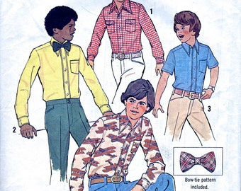 """Boy's Shirt And Bow Tie - 1970s - Vintage Sewing Pattern - Simplicity 6738 - Chest 28"""" 30"""" - Supplies"""