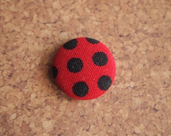 Red with black polka dot  fabric covered buttons (size 60, 40, 32, 20, or 18)