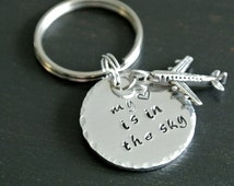 My Heart Is In The Sky | Plane Pilot Gift Airplane Travel Gift Traveler Flight Attendant | Hand Stamped Aluminum Key Chain