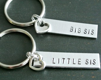 Big Sister Little Sister Hand Stamped Keychain Set   Big Little Sorority   Big Little Gift   Big Little Keychain   Sister Gift