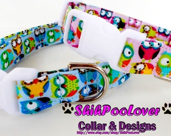 Awesome Blue or Pink Owls All Over Adjustable Dog or Cat Collar (Matching Leash Available)