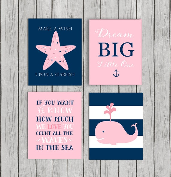 Baby Nash S Vintage Nautical Nursery: 50% OFF.Baby Girl Nursery Decor Navy Pink By OnlyPrintableArts