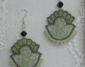 Green Baroque Lace Earrings