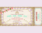 Carousel carnival ticket style Invitation. Lavender, purple, gold, coral, bunting. Printable, DIY. Birthday, bridal shower, baby shower.