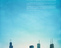 Contemporary Custom Ketubah Marriage Certificate Chicago Skyline