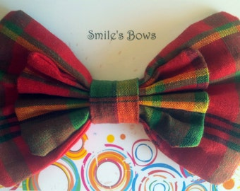 SmilesBows Cultural Madras Hair Bow