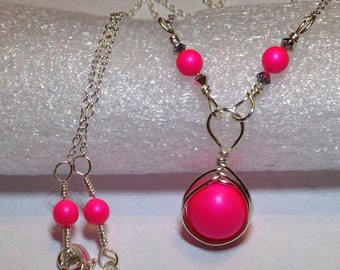 Neon Pink Pearl Necklace Wire Wrapped Jewelry Handmade Hot Pink Swarovski Pearl Necklace Neon Pink Necklace Hot Pink Pearl Drop Necklace