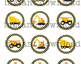 INSTANT DOWNLOAD Construction Theme Cupcake Topper Big Rig Construction Truck Theme