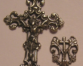 French Crucifix & Center Rosary Parts Rosary Supplies Sterling Silver or Bronze Minimalist Religious Jewelry Catholic Pendant #2