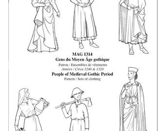 """MAG1314 – """"Gothic"""" Period Mens' and Women's Sets  / 1240 or 1320 / Habillements des hommes et des femmes du Moyen Âge """"gothique"""""""