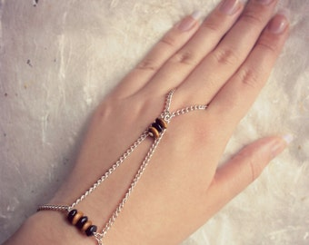 Wood and chain hand harness bracelet ⁓ ring & bracelet