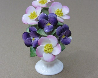Vintage Mini Bone China Flowers in a Vase - #8