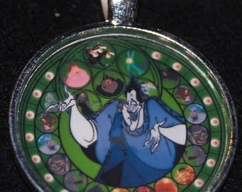 Hercules Hades Round Stained Glass Style Silver Disney Pendant Necklace Jewelry