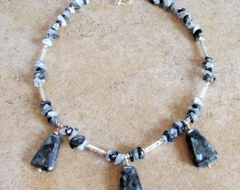 Black Labradorite Gemstone Necklace