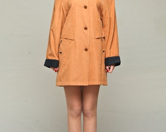 Orange womens parka / Womens short jacket / Waterproof jacket / Womens short raincoat