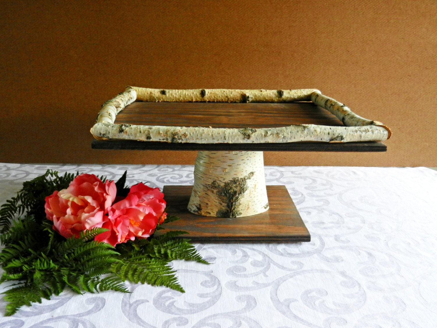 Wedding Cake Wood Square 16 Cake Stand with Birch by