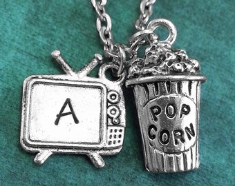 TV and Popcorn Necklace, Personalized Necklace, TV Pendant, Custom Necklace, Movie Night Necklace, Monogram Necklace Popcorn Charm Necklace