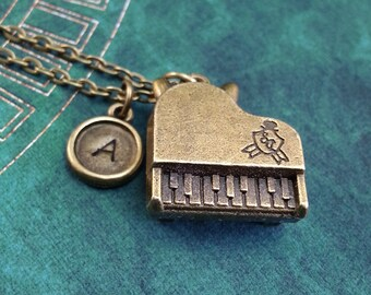 Piano Necklace, Brass Instrument Charm, Personalized Necklace Pendant Necklace Music Necklace Engraved Necklace Pianist Keychain Grand Piano