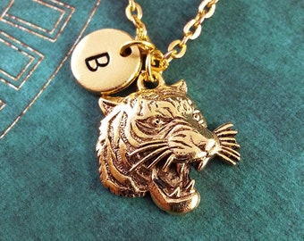 Tiger Necklace Personalized Necklace Tiger Pendant Animal Jewelry Monogram Necklace Gold Tiger Charm Necklace Wildcat Necklace Wildcat Gift