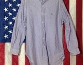 RALPH LAUREN Vintage Polo 1980s Lavender Button Front Shirt - Vintage Embroidered Iconic Logo - Button Down Collar - Size M