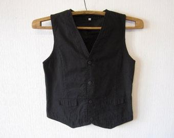 Black Vest Boys Formal Edwardian Victorian Baroque Childrens Waistcoat 146 / 152 Cotton