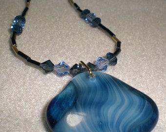 Blue Czech Glass and Swarovski Crystal Necklace