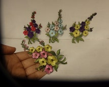 3 flower applique embroidery sewing motif patch sew on iron on bunch bouquet emellishment