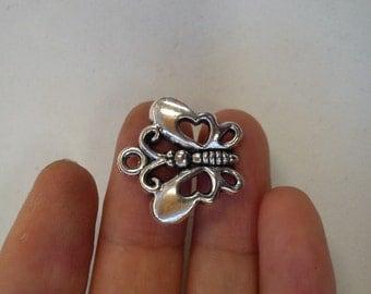 15 butterfly tibetan silver charm pendant antique silver wholesale uk 20x20mm