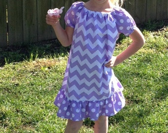 Purple Chevron Peasant Dress