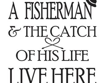 Fishing Stencil Etsy