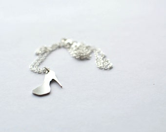 High Heel Shoe Necklace. Sterling silver chain