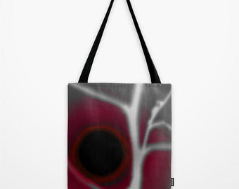 Red Eclipse Tote Bag, Abstract Photography, Landscape Photography, Gray Shopping Bag, Shoulder Bag, Gift Bag, Crimson Sun