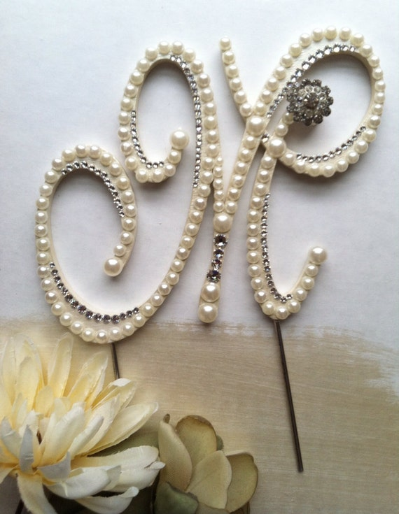 Pearl Initial Wedding Cake Toppers