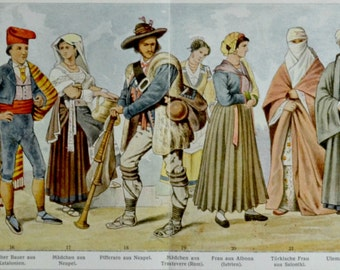 Traditional clothes print. Old book plate,1897. Antique illustration. 117 years lithograph. 12'1 x 9'4 inches.