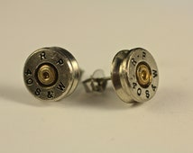 Remington 40 Smith and Wesson Nickel Plated / Surgical Steel Earrings Studs made with REAL BULLETS Head Stamp Brass Ear Rings Studs Post