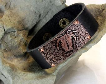Leather & Etched Copper Burgess Shale Marella Fossil Cuff Bracelet