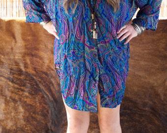 AMAZING PAISLEY SHIRT // Vintage Button Down Shirt // Shirt Dress