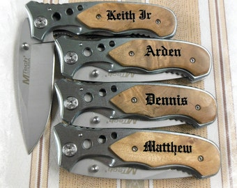 SET of 8 Engraved Pocket Knife ,Rescue Knife , Boy scout Knife , Monogram Engraving ,Groomsman Gift ,Camping Knife - Hunting Knife