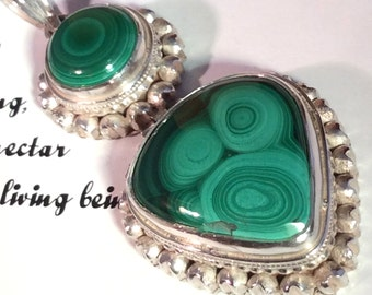 Green Malachite Teardrop  Pendant. Sterling Silver. Discounted. Hinged. Free US ship 49.00