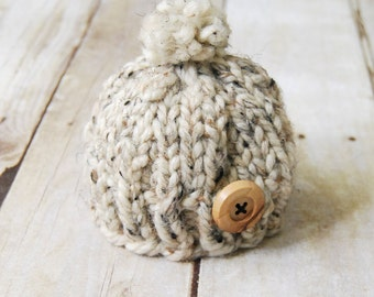 Winter Baby Toque - Oatmeal Tweed
