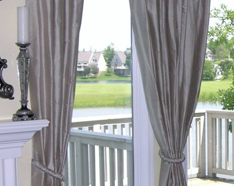 Luxurious CUSTOM faux SILK DRAPES / Curtains (fabric & linings included)