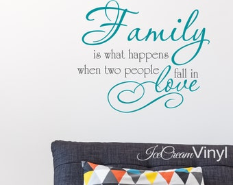 Family Wall Decal -Family Is What Happens When Two People Fall In Love- Home Decor Wall Art Kitchen Bedroom Family Room Living Room